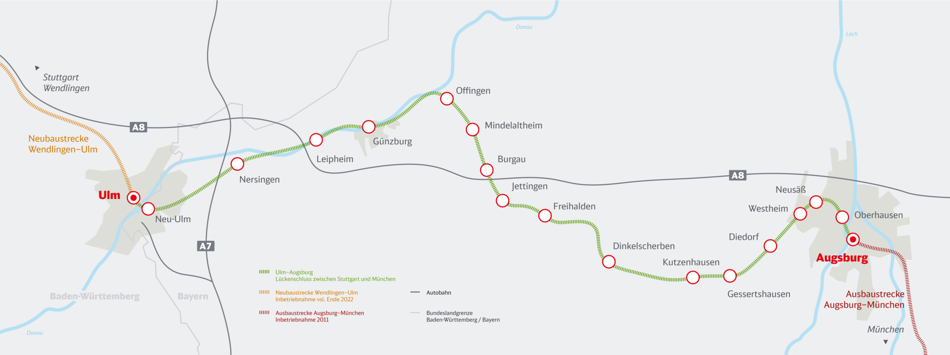 Streckenkarte Bahnprojekt Ulm-Augsburg
