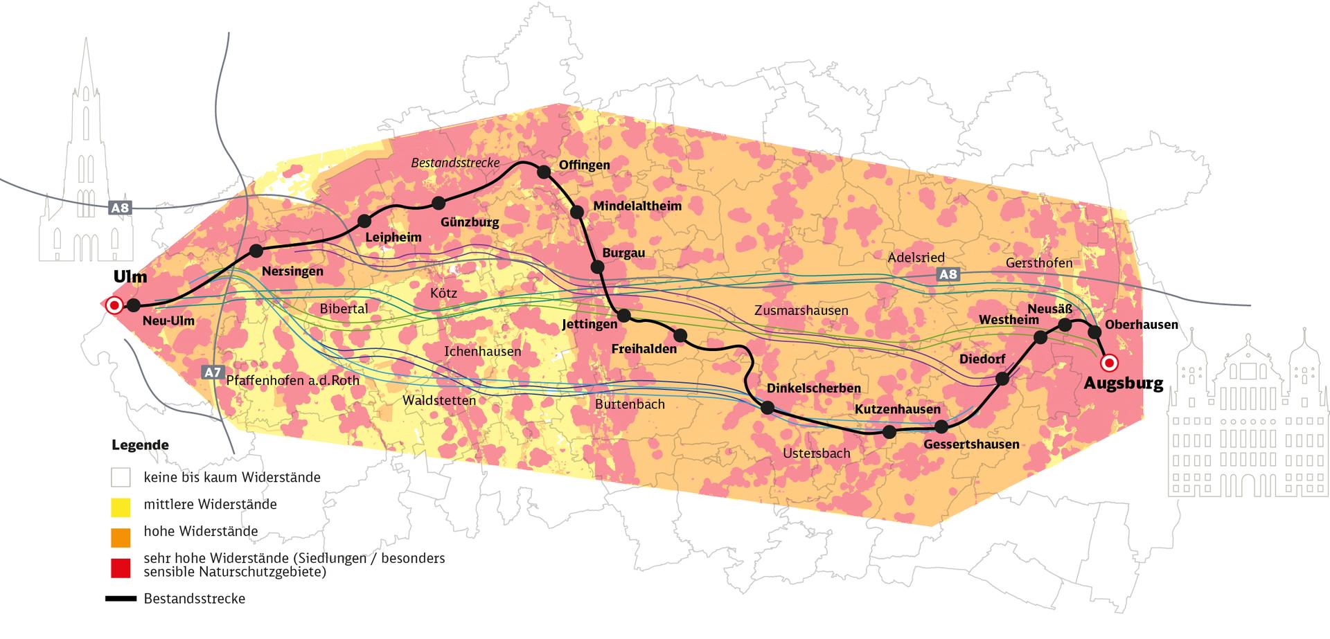 Raumwiderstandskarte mit Trassierungsräumen